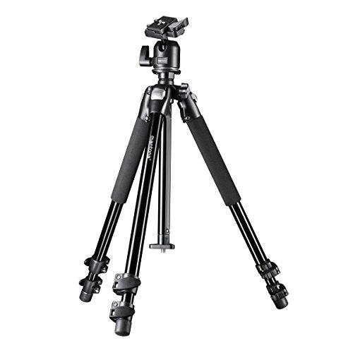 Mantona Basic Scout Makro Fotostativ, Kamerastativ bis 153cm, ideal für Makro durch umkehrbare + 2. kurze Mittelsäule, sehr vielseitig für Outdoor Fotografie und DSLR Kamera, kompakt stabiles Stativ
