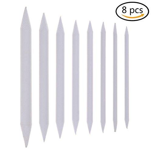 haishell 8Stück weiß Blending Stumps und tortillons Set Art Mischer Sticks für Student Sketch Zeichenutensilien, 8Größen 8 Pcs