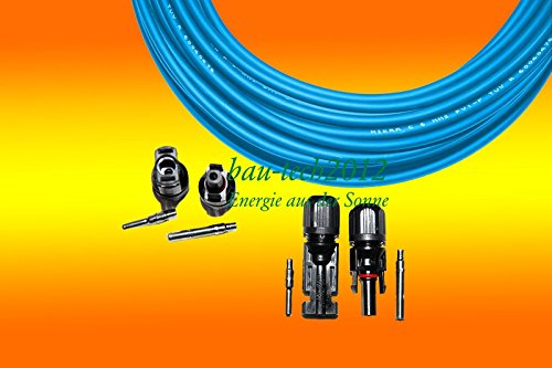 Solarkabel 6mm² BLAU inkl. 2 Paar MC4 Steckern für PV Solar Photovoltaik Montage von bau-tech Solarenergie GmbH