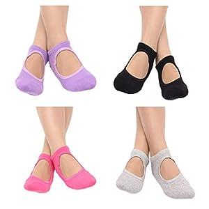 LIOOBO 4 Paar Damen Pilates Socken Weiche, rutschfeste, atmungsaktive, rutschfeste Cotton Dance Fitness Söckchen