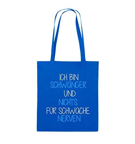 Comedy Bags - Ich bin Schwanger und nichts für schwache Nerven. - Jutebeutel - lange Henkel - 38x42cm - Farbe: Weiss / Schwarz-Pink Royalblau / Weiss-Hellblau
