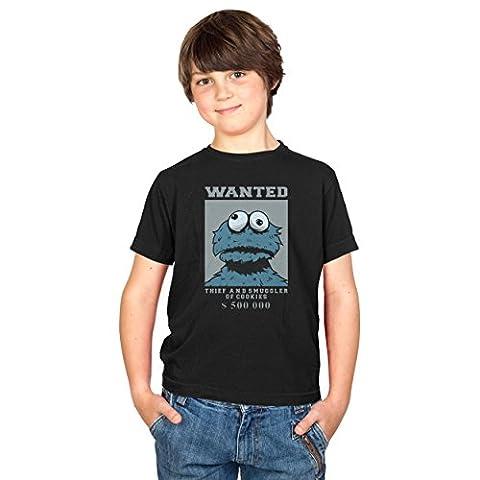 TEXLAB - Wanted Thief and Smuggler of Cookies - Kinder T-Shirt, Größe XS, schwarz