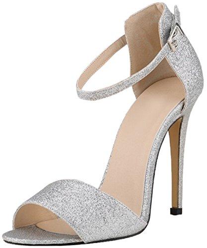 HooH Femmes Elegance Bling Stiletto Escarpins Peep Toe Sandales silver