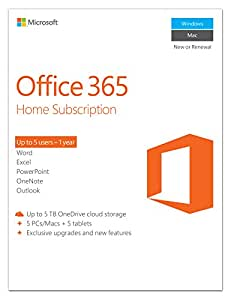 Microsoft Office 365 Home - 5 Users - 1 Year Subscription (PC/Mac) [Download]