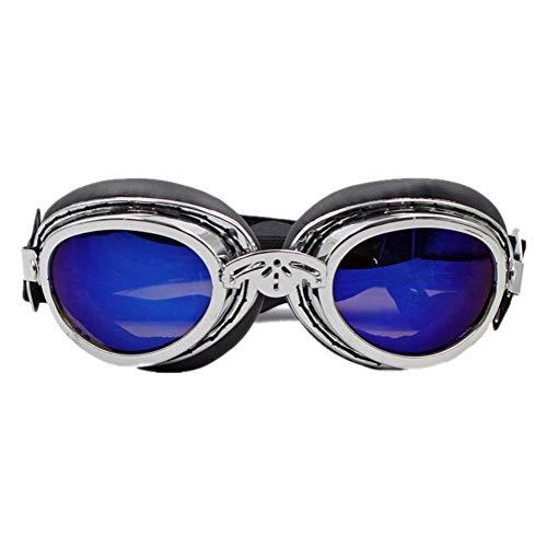 Maybesky Hund Sonnenbrillen Hundebrille für UV-Schutz Sonnenbrillen Winddicht mit verstellbaren Band für Welpen Doggy Cat für Hunde Augenschutz wasserdicht (Farbe : Silber)