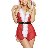 Damen Sexy Babydoll Piebo Frauen Weihnachts-Serie Dessous Erotik Sexy Dessous-Sets Unterwäsche Damenwäsche Kapuzenweste Hoodie mit Strings Kleider Spitze Rückenfrei spielt mit einem Hutsatz Reizwäsche