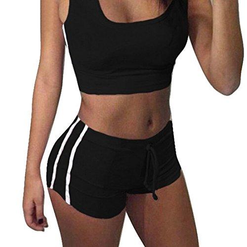 Aelegant Sommer damen 2 teile Sport Set Trainingsanzug Yoga Outdoor casual Jogging Sportkleidung aus crop Tops bauchfrei mit Sport Shorts (Schwarz, S)