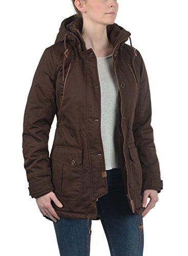DESIRES Annabelle Damen Übergangsparka Parka Übergangsjacke Lange Jacke mit Kapuze, Größe:XS, Farbe:Coffee Bean (5973) - 3