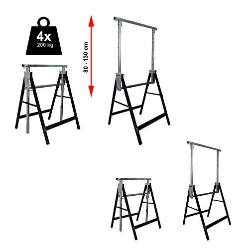 4x Gerüstbock bis 400 kg/Paar Klappbock Gerüst Unterstellbock Stützbock höhenverstellbar von 80-130cm