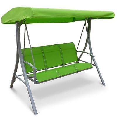 Hollywoodschaukel Stahl Textilene Gartenschaukel Schaukel Gartenmöbel grün Gartenbank