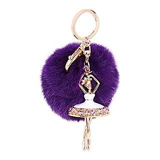 KDSANSO Handtasche Anhänger,Ballett-Mädchen-Pom-Anhänger verziert Mobiltelefon-Autokleidung-Geburtstags-Geschenk,Lila,15cm
