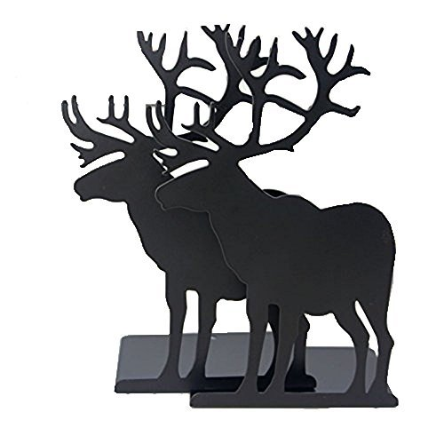 Winterworm Mode créatif Dessin animé mignon fer Elk Moose Motif antidérapante pour bureau de bureau en métal Serre-livres