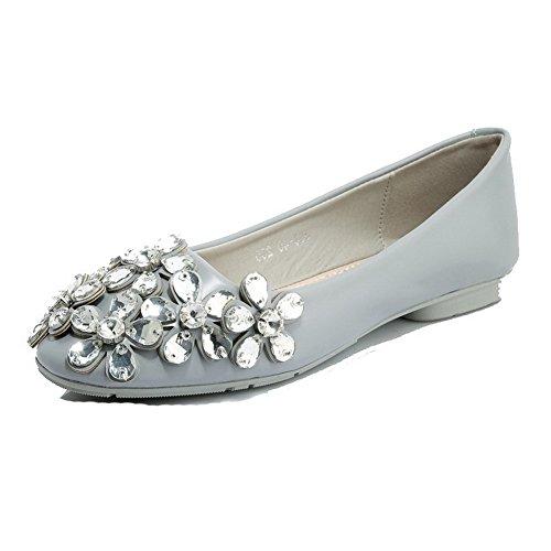 AllhqFashion Damen Pu Leder Niedriger Absatz Quadratisch Zehe Ziehen Auf Flache Schuhe Grau