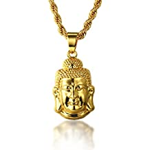 """Halukakah """"GOLD BLESS ALL"""" 18k Real Gold Plated 3D Buddha Pendant Necklace.Double-faced,with FREE Rope Chain 30"""""""
