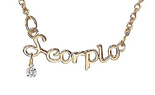 Inception Pro Infinite Damen Halskette - Sternzeichen Name - Horoskop - Coppered Gold Farbe - Zircons (Skorpion)