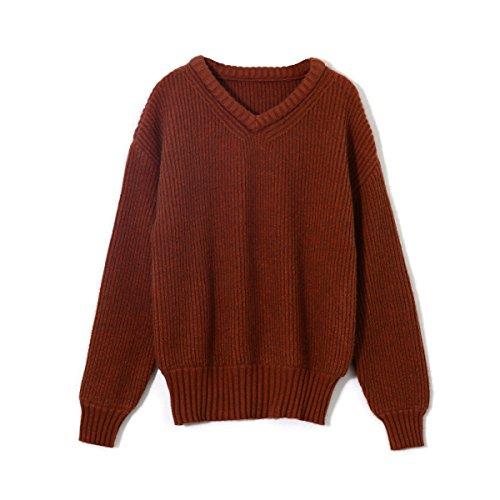 MEI&S Women's chunky tricot épais chandail tricoté cavalier baggy Caramel
