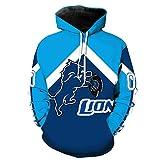 WEIYIGE Sweatshirt 3D Detroit Lions Drucken Hooded Pocket Rollkragenpullover Herrenhut Herrenpullover - M