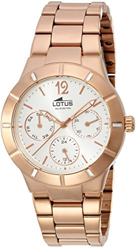 lotus women's quartz watch with silver dial analogue display and stainless steel rose gold plated bracelet 15915/1
