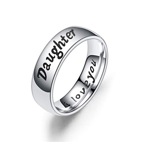 Beiswin Titan Stahllegierung Ringe Einfache Klassische Silber Ringe für Liebe Mutter Tochter Sohn Geburtstagsgeschenk Zubehör (DAUGHTER-7#)