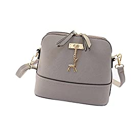 Generic Women Vintage PU Leather Shoulder Bags Shell Model Handbag (25*10*19cm) (Grey )