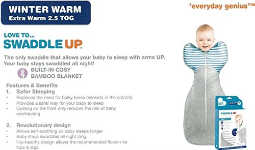 Love to Dream Swaddle Up 50/50 warm grau gestreift – Medium 13 bis 18.5lbs (6–8,5 kg)