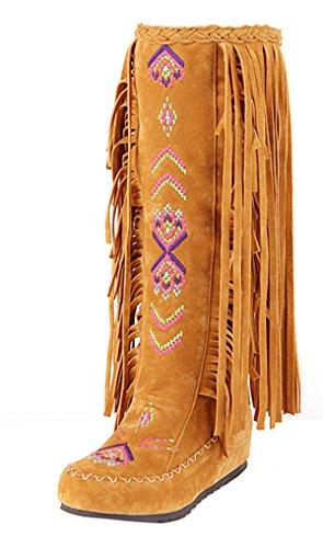 YE Damen Keilabsatz Bestickte Stiefel Plateau mit Fransen Herbst Winter Fashion Height Increasing innerhalb der erhöhte Bequem (Indianer Stiefel)