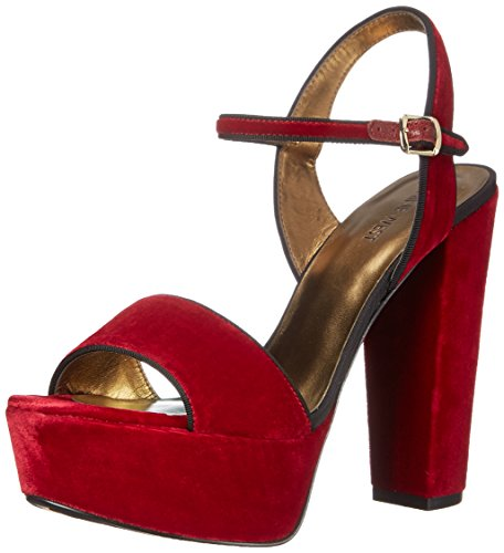 Nine West Carnation Fabric Platform Sandal Red Velvet