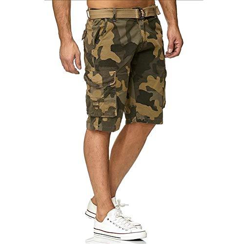 Azuonda Herren Cargo Shorts Kurze Hose Bermuda Short Sommer Cargoshort Cargohose mit Gürtel AZ58, Hosengröße:W34, Farbe:Camouflage Beige - Strand Bermuda Shorts