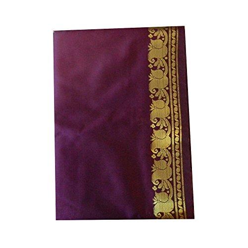 Sari dunkellila Goldbrokatborte traditionelle Bekleidung Indien Tracht Wickelanleitung (Indische Tracht)