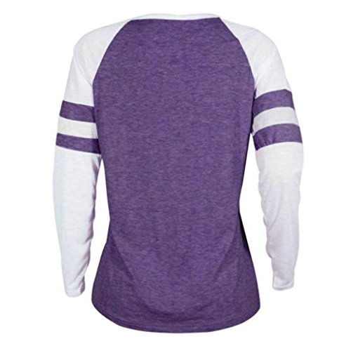 Blouse Femmes HUHU833 Hiver Casual grande taille rayée ample à manches longues mode Tops Sweater Tee-Shirt Violet