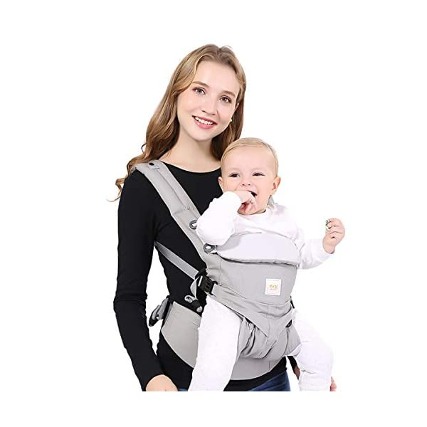 SONARIN Premium Convertible Baby Carrier with Storage Bag,Sunscreen Hood,Ergonomic,for Newborn to Toddler(0-48 Months),Head Support,Maximum Load 20kg,Front Facing Baby Carrier(Blue) SONARIN Applicable age and Weight:0-48months of baby, the maximum load:20KG, and adjustable the waist size can be up to 55.2 inches (about 140 cm). Material:designers carefully selected soft and delicate 100% Cotton fabric.The inner is made of skin-friendly breathable material,Soft machine wash,do not fade,ensure the comfort and breathability,high strength,safe and no deformation,to the baby comfortable and safe experience. Description:Patented design of the auxiliary spine micro-C structure and leg opening design,natural M-type sitting.Adjustable back panel that grows with baby and offers head and neck support with sleeping hood that provides UV50+ sun protection. 2