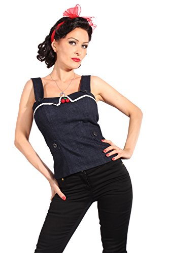 Denim Uniform rockabilly pin up Cherry Jeans Corsage TOP incl Pads