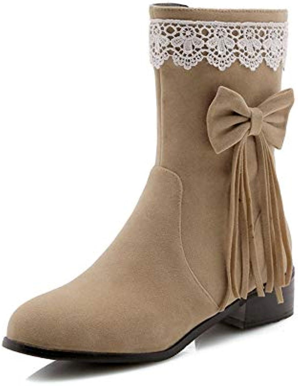 YSFU stivali Stivaletti da Donna Moda Tinta Unita Fiocco Nappa Comode Scarpe da Donna avvioie Casual Autunno Inverno... | Nuovi prodotti nel 2019  | Sig/Sig Ra Scarpa