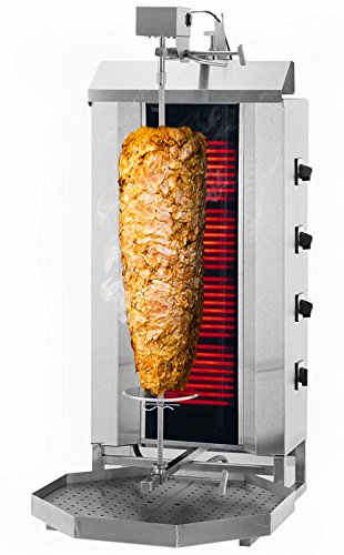 GOO Gastro GO6215G Gewerbe Dönergrill 4 Brenner / maximal 80kg B 530 x T 600 x H 1305 mm Edelstahl Döner Gyros Hähnchen Kebab Grill Multigrill Hähnchengrill Drehspieß Vertikalgrill Dönermaschine Gyrosmaschine