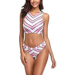 MEMORY BABY Mujer Bikini Push UP Doble Rayas Traje de baño Cuello Alto(XL,Raya Rosa)