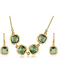 Alamod Gold-Toned Green Crystal Stone Studded FPS_012