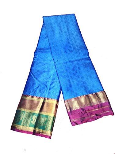 Sreenivasa Sarees Womens Pure Pattu Sky Blue and Pink Color Hand Woven...