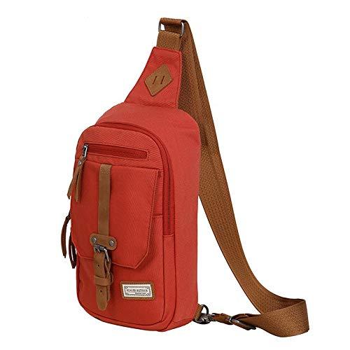 Zbshop Salbei Outdoor-Mode Retro-Rucksack, Herren und Damen Brusttasche lässig Tasche Z7334166, XS, Ziegel rot
