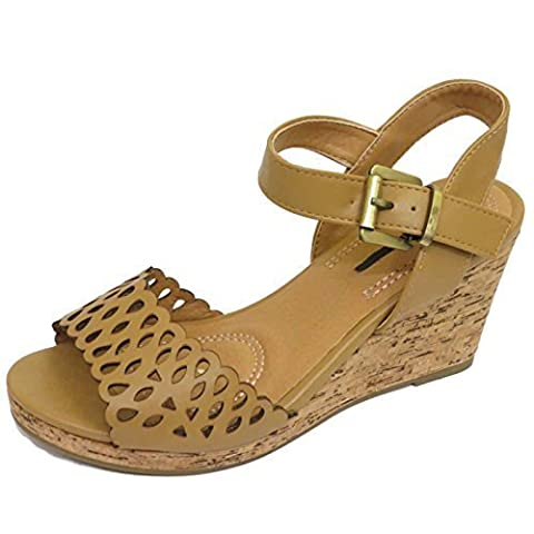 Ladies Tan Wedge Platform Summer Sandals Peep-Toe Ankle Shoes Pumps Sizes 4-7
