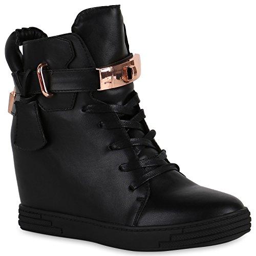 Damen Sneakers Keilabsatz Sneaker-Wedges Lederoptik Schuhe Schwarz