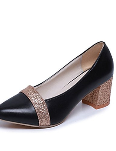 High eu35 Heels uk3 B眉ro Schwarz Silber PU Damen cn34 Kleid GS~LY Blockabsatz Rundeschuh us5 Gold golden 5UqTO