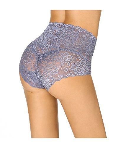 KissLace Damen Spitze Panty hohe Taille Slip Unsichtbare Dehnbare Bequeme Unterhose Hipsters Blaulila