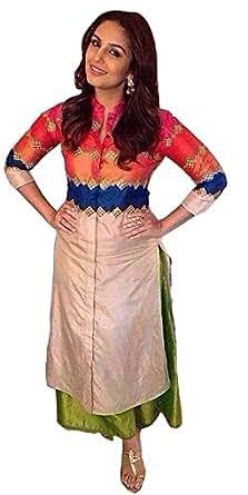 rangrasiya Women's Silk Kurti (Rangila-105_Multi Color_Free Size)