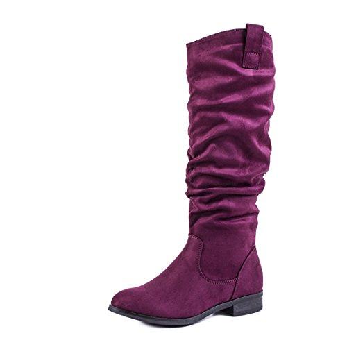 Trendige Damen Boots Hochschaft Stiefel Schuhe in hochwertiger Lederoptik Weinrot