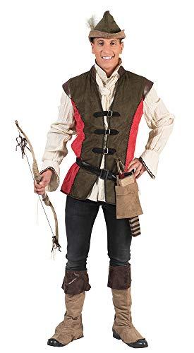 Robin Hood Kostüm für Herren - Grün Rot - Gr. 48/50