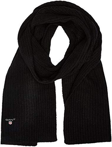 GANT Herren O2. Wool Knit Scarf Schal, Schwarz (Black), One size Soft Knit Schal