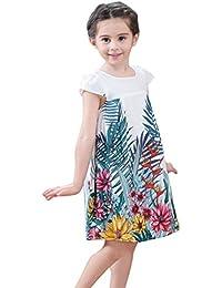 Vestidos de Niña,Miyanuby Niñas Pequeñas Manga Corta Algodón Flor A-Line Vestidos Ropa