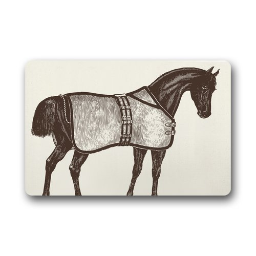 Fußabtreter Personalize Decor Carpets ? Door Mats Ideas Horse Equestrian Fußabtreters Top Fabric & Rubber Indoor Outdoor s Area Rugs Entryway Mats Non-Slip Rubber Backing 23.6in by 15.7 in -