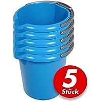 Putzeimer Set - 5 Stück mit Ausguss und Skala, 5 Liter - Eimer rund, Wassereimer Kunststoff, Haushaltseimer Plastik - verschiedene Farben, Farbe:azur