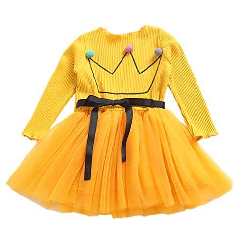 JYJM Babykleidung Prinzessin Kleid Mädchen langärmelige Blumen Gaze Kleid Prinzessin Kleid Mode Babykleid Nettes Kleinkind Baby Blumen Ballettröckchen langes Hülsen